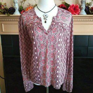 Lucky Brand Border Print Boho Knit Top XL Long Slv